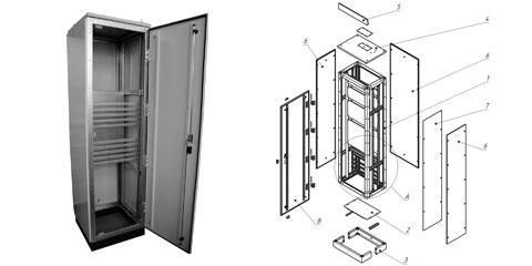 Шкаф монтажный напольный 42u 800x1000mm